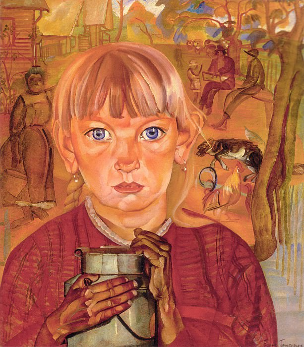 A Girl with a Can. Morning in a Village. Boris Grigoriev