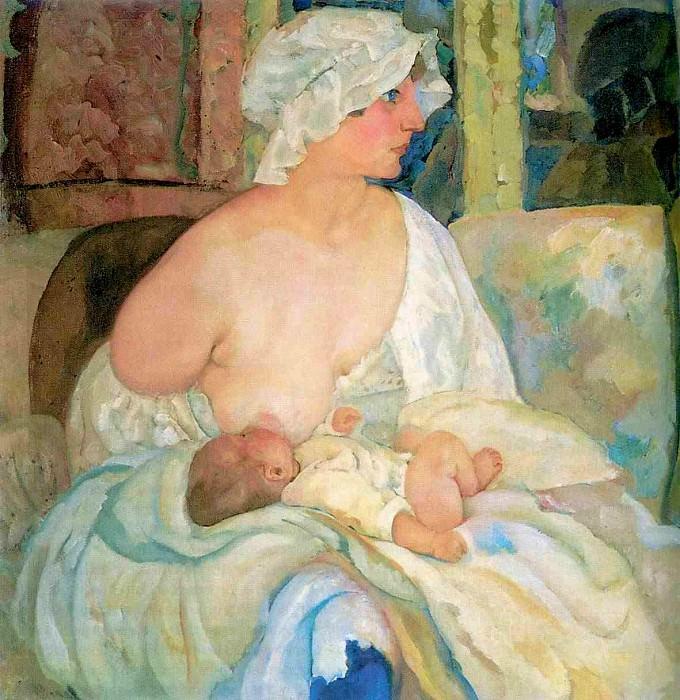 Mother, The Artists Wife and son Kirill. Boris Grigoriev
