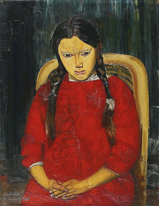 Девочка в красном. Борис Дмитриевич Григорьев