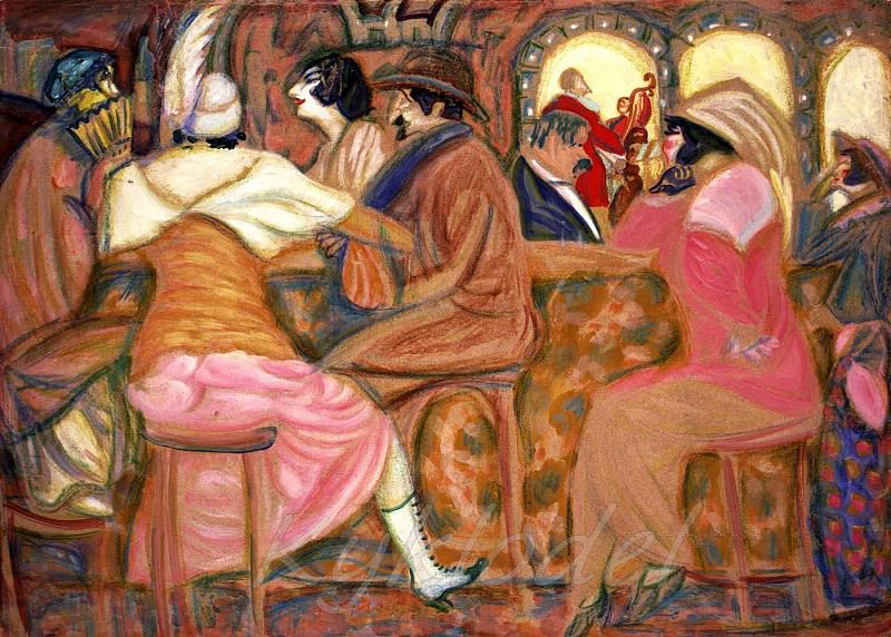 In a Paris cafe. Boris Grigoriev