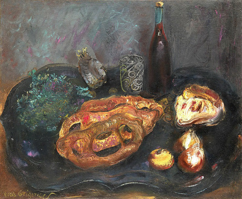 Still life with bread and onions. Boris Grigoriev