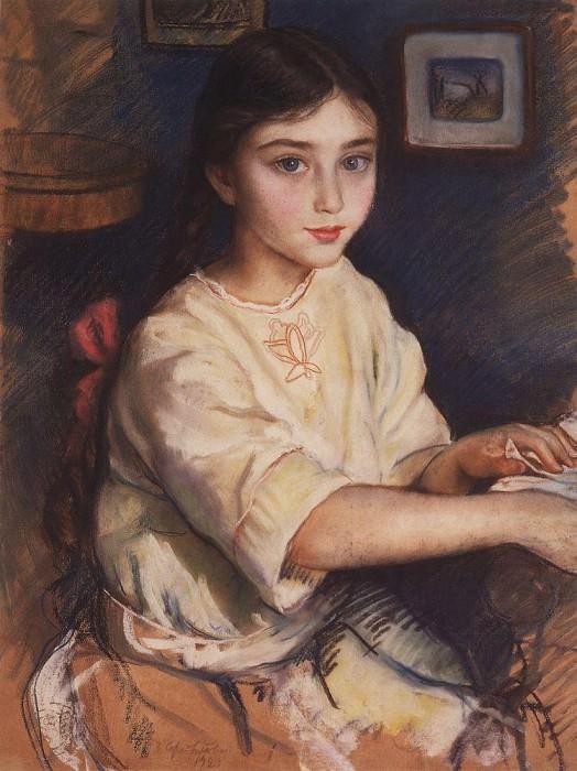 Portrait of O. I. Rybakova in childhood. Zinaida Serebryakova