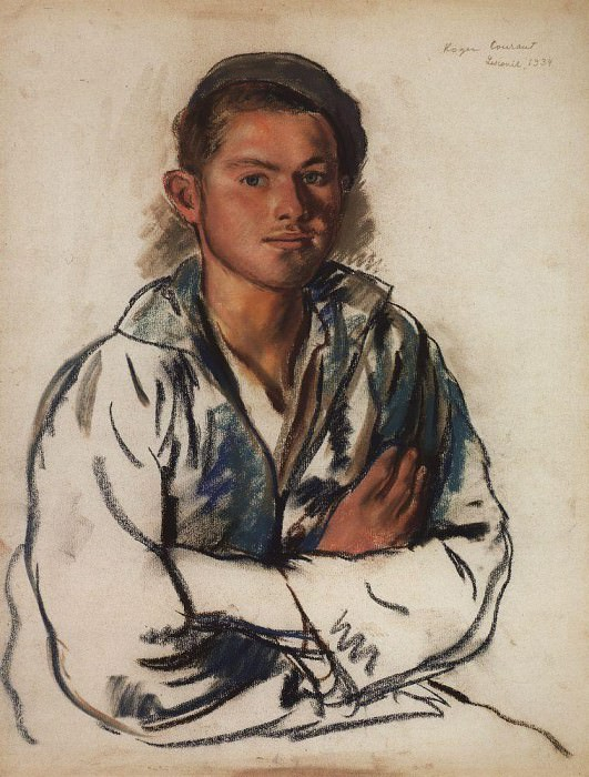 Portrait of young fisherman. Zinaida Serebryakova