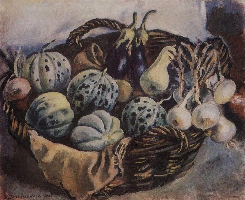 Basket of melons and squash. Zinaida Serebryakova