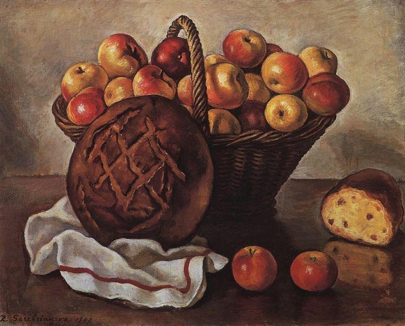 Still Life with apples and a round bread. Zinaida Serebryakova