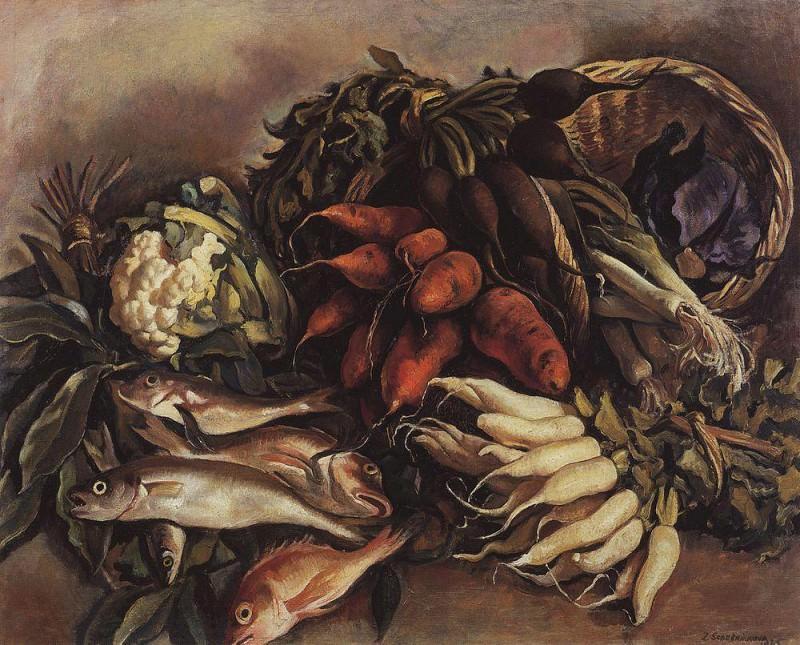 Fish on the greens. Zinaida Serebryakova