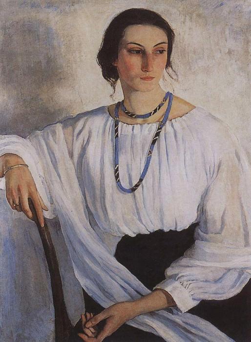 Portrait of E. E. Zelenkova, nee Lancer, sister of the painter. Zinaida Serebryakova