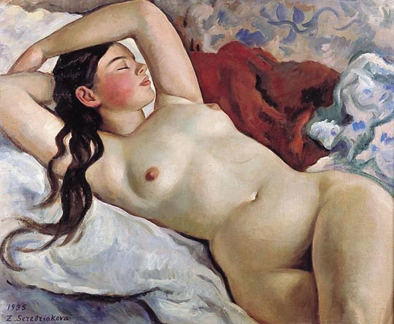 Lying Nude girl. A portrait of Nevedomskaya. Zinaida Serebryakova