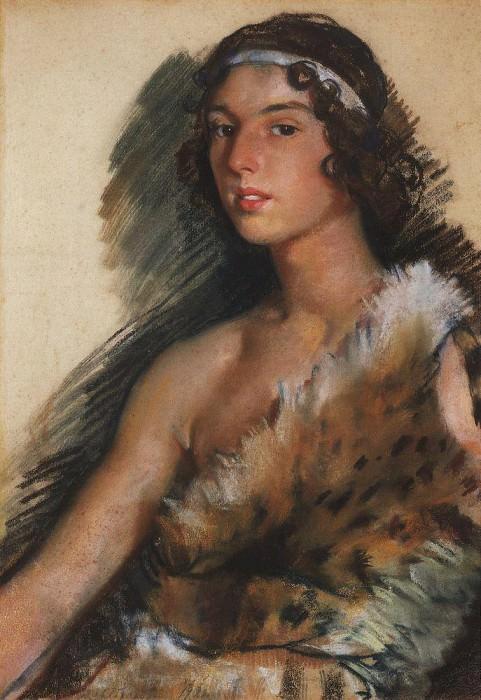 Portrait of G. M. Balanchine G. Balanchine in a suit of Bacchus. Zinaida Serebryakova