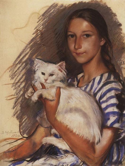 Portrait of Natasha Lancere with a cat. Zinaida Serebryakova