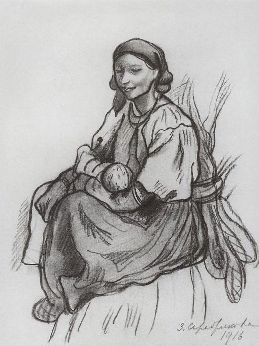 Крестьянка с ребенком. Зинаида Евгеньевна Серебрякова