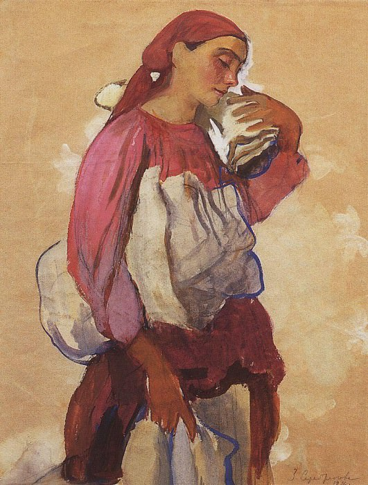 The peasant woman with rolls of canvas on his shoulder and in the hands. Zinaida Serebryakova