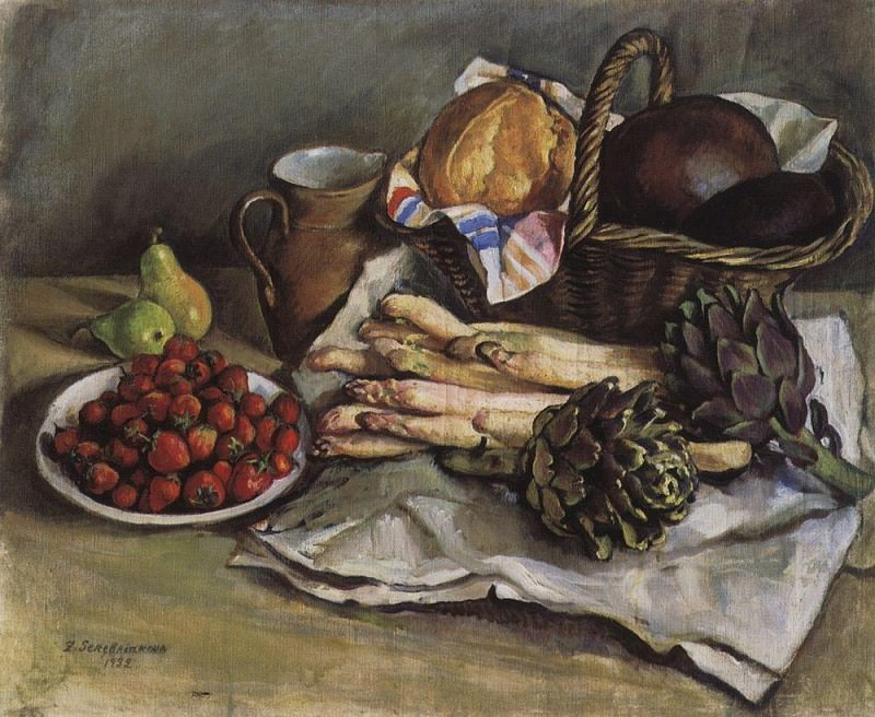 Still life with asparagus and strawberries. Zinaida Serebryakova