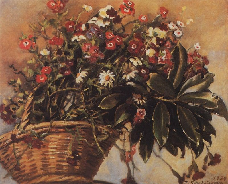 Basket with flowers. Zinaida Serebryakova