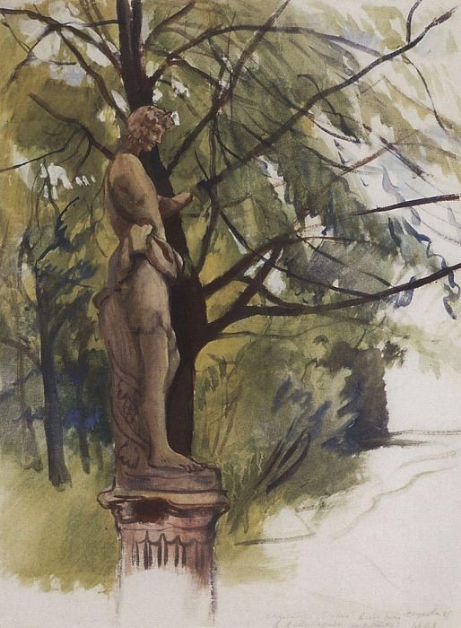 Faun statue in the garden of the Yusupov in Petrograd. Zinaida Serebryakova