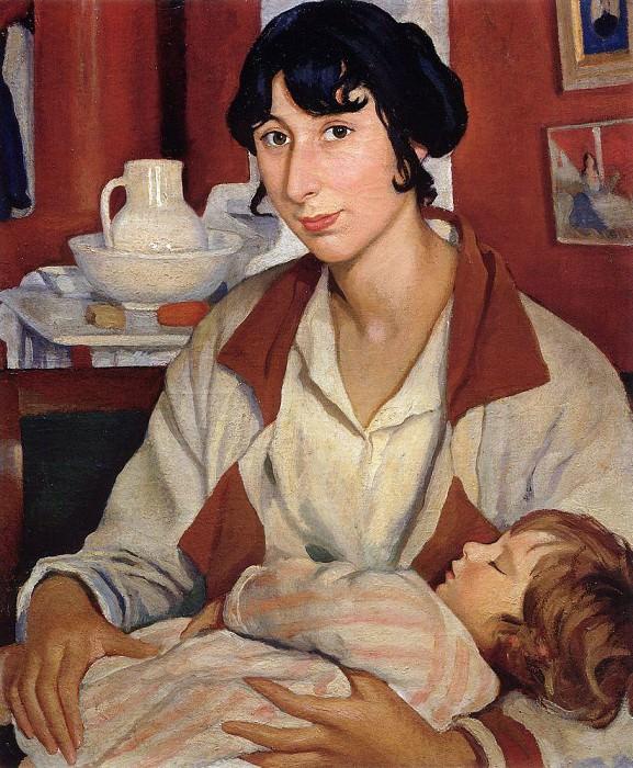 Portrait of A. A. Cherkesova-Benoit and her son Alexander. Zinaida Serebryakova