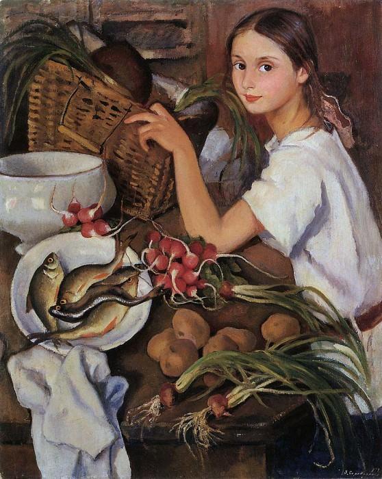 Tata with vegetables. Zinaida Serebryakova