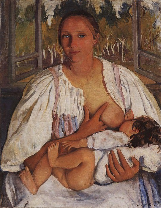 The nurse with a baby. Zinaida Serebryakova