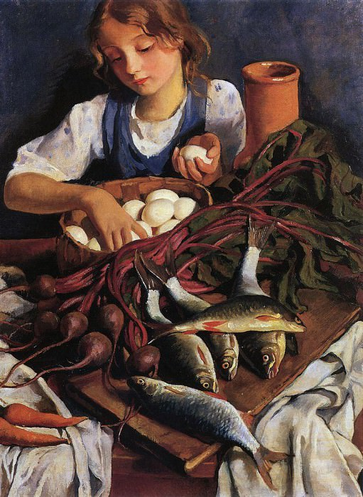 In the kitchen. Portrait of Katya. Zinaida Serebryakova