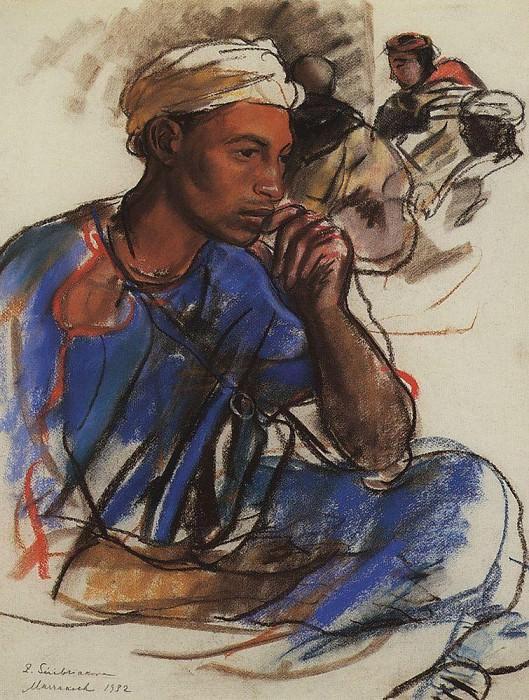 Thoughtful man in blue. Marrakesh. Zinaida Serebryakova