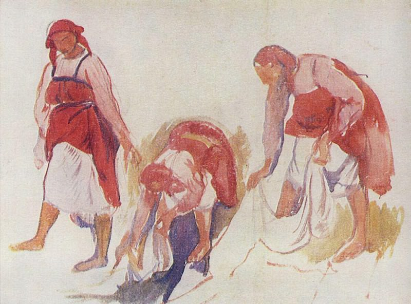 Etude for the painting Whitening canvas 2. Zinaida Serebryakova