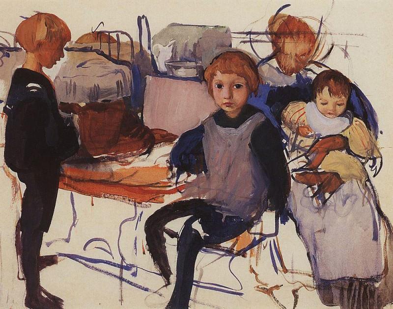 In the children's room, Neskuchnoye. Zinaida Serebryakova