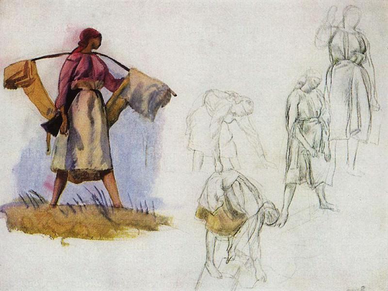 Sketches for the painting Whitening canvas. Zinaida Serebryakova
