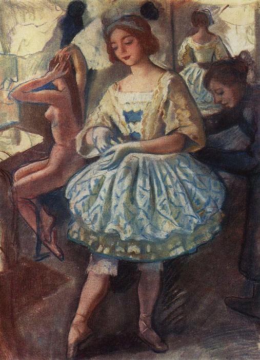 "Portrait of a ballerina E. A. Svekis in costume for the ballet ""The Fairy Doll"". Zinaida Serebryakova"