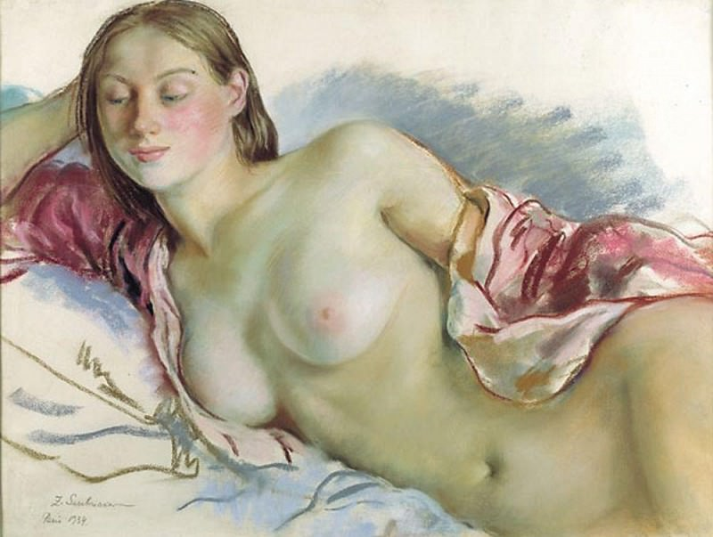 Lying Nude girl with cape cherry. Zinaida Serebryakova