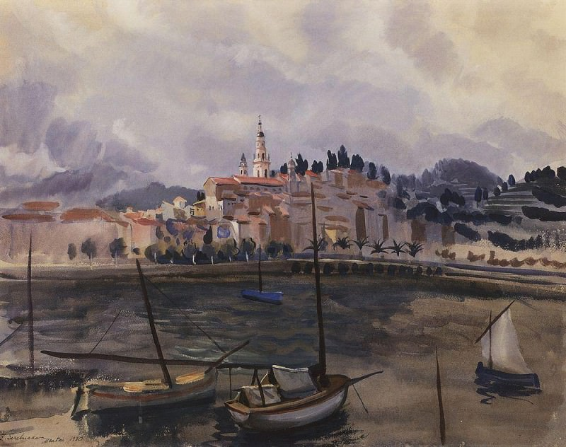 Menton. View from the harbor of the city. Zinaida Serebryakova