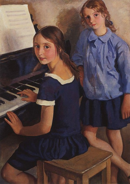 The girls at the piano. Zinaida Serebryakova