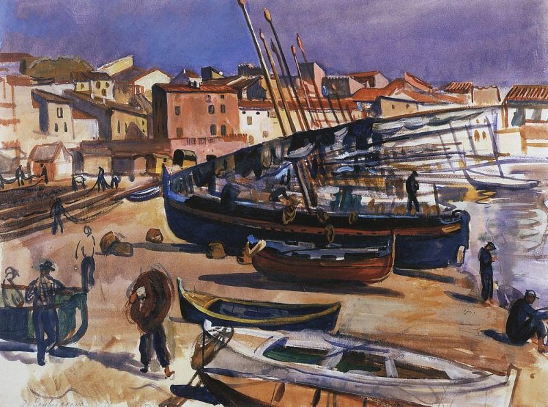 Collioure. Port with boats. Zinaida Serebryakova