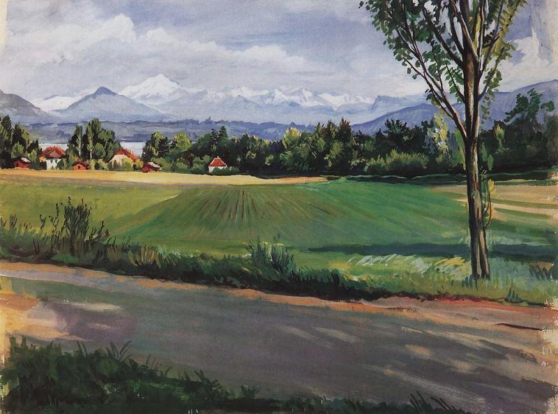 Швейцарский пейзаж близ Женевы. Зинаида Евгеньевна Серебрякова