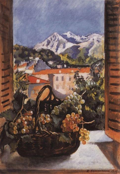 Basket with grapes on the window Menton. Zinaida Serebryakova