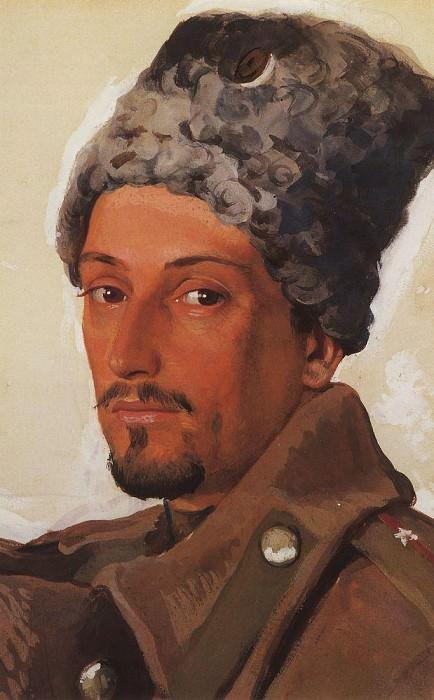 Portrait of E. E. Lansere in sheepskin hat. Zinaida Serebryakova