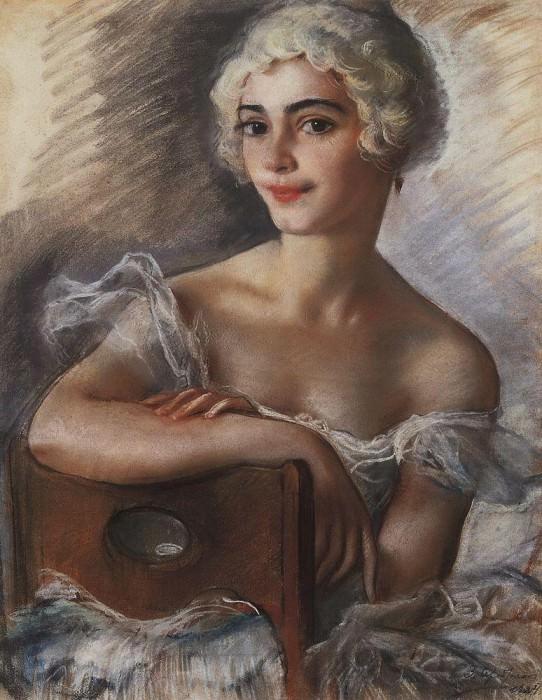 Портрет Е. Н. Гейденрейх в белом парике. Зинаида Евгеньевна Серебрякова