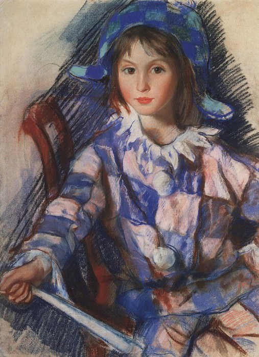 Portrait of Tata in costume of Harlequin. Zinaida Serebryakova