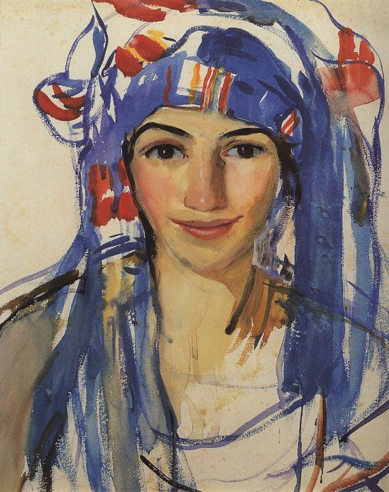 Self-portrait with scarf. Zinaida Serebryakova