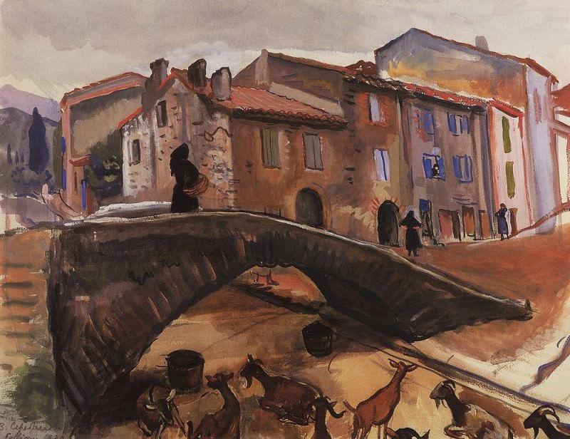 Collioure. The bridge with goats. Zinaida Serebryakova