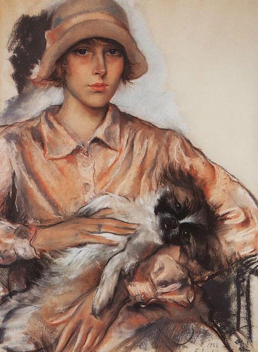 Портрет дамы с собачкой И. Велан. Зинаида Евгеньевна Серебрякова