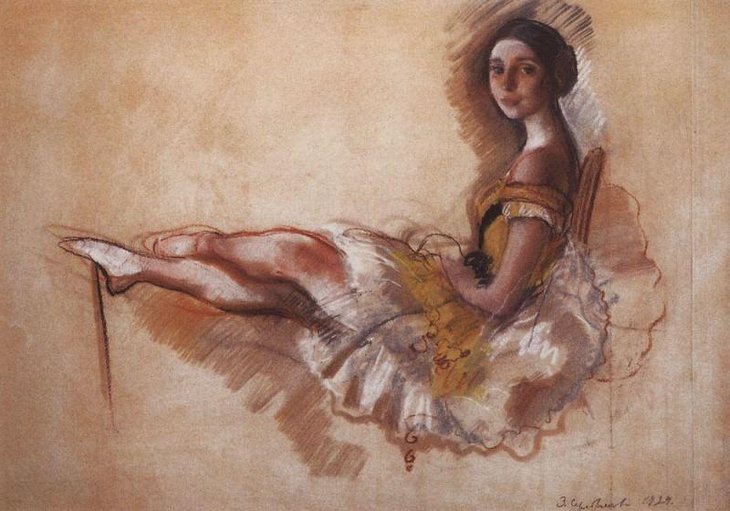 The resting ballerina. Portrait of a ballerina M. S. Dobrolyubova. Zinaida Serebryakova