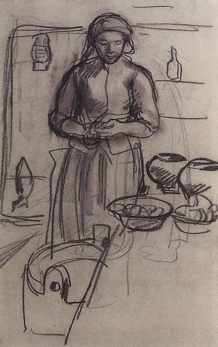 The peasant woman in the kitchen. Zinaida Serebryakova