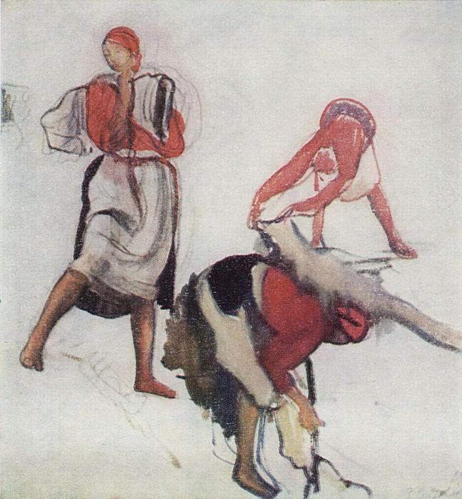 Этюд для картины Беление холста 1. Зинаида Евгеньевна Серебрякова