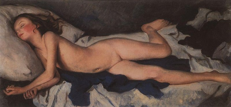 Sleeping girl on a blue. Katusha on a blanket. Zinaida Serebryakova