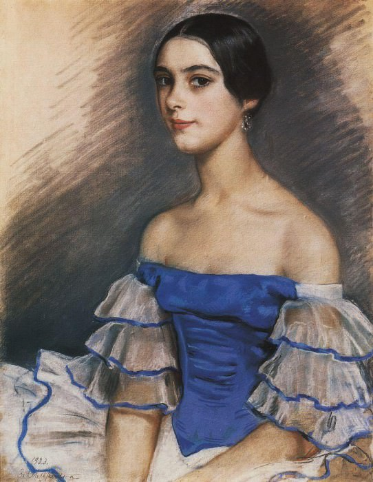 Portrait of E. N. Heidenreikh in blue. Zinaida Serebryakova
