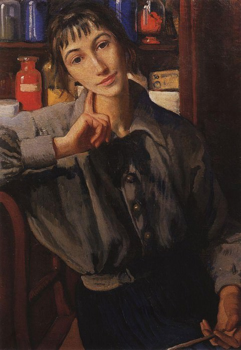 Self-portrait with paintbrush. Zinaida Serebryakova