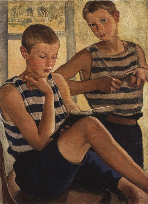 The boys in sailor s striped vest. Zinaida Serebryakova