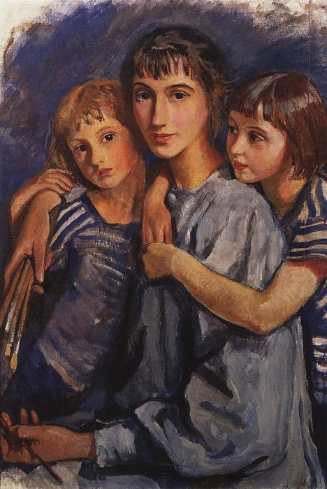 Self-portrait with her daughters. Zinaida Serebryakova
