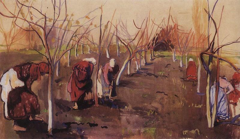 Окапывают деревья в саду. Зинаида Евгеньевна Серебрякова
