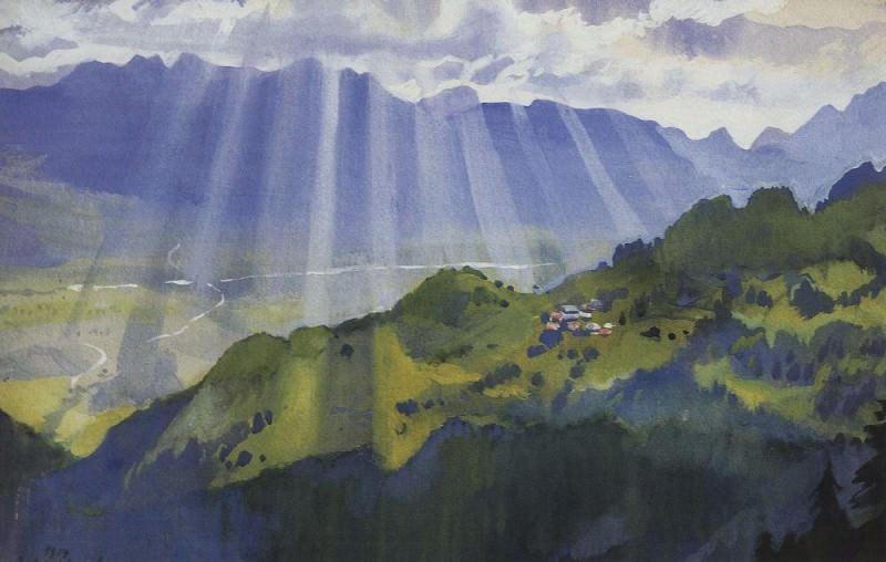 Mountain landscape Switzerland. Zinaida Serebryakova